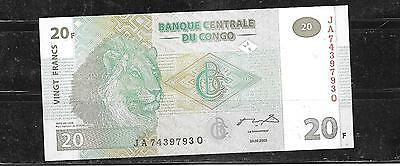 CONGO #94a 2003 UNC MINT  20 FRANCS BANKNOTE PAPER MONEY CURRENCY BILL NOTE
