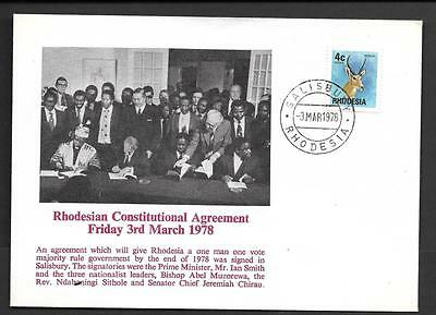 Rhodesia, Political Cover, 3.03.78,  Constitutional Agreement, Fine.