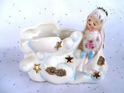 Vintage Rare 1957 Lefton Angel In Clouds With Gold Stars Planter #165