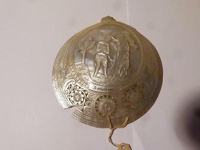 Antique Carved Mother of Pearl Shell Nacre BETHLE'EM Religious Scene a/f