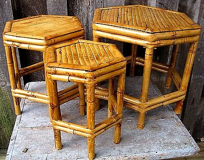 Three Vintage Style Bamboo Nesting Tables Home & Garden In/outdoor Plant Stands