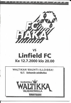 Fc Haka V Linfield - Champions League Qualifying Round Fixture 2000
