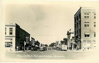Real Photo Postcard Main Street Scene, Eldorado, Kansas