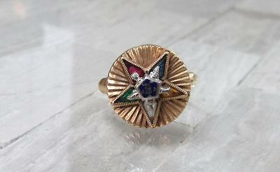 Vintage 10KT Solid Yellow Gold Masonic Eastern Star Ring ~ 2.8grams ~ CS-4718
