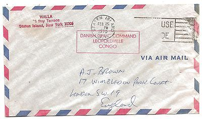 1970 United Nations Danish Command Leopoldville Congo Cover Air Mail New York