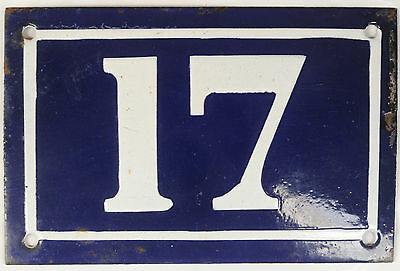 Old blue French house number 17 door gate plate plaque enamel metal sign c1950