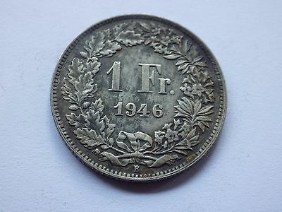 Vintage Switzerland/Swiss Silver One Franc Coin - 1946