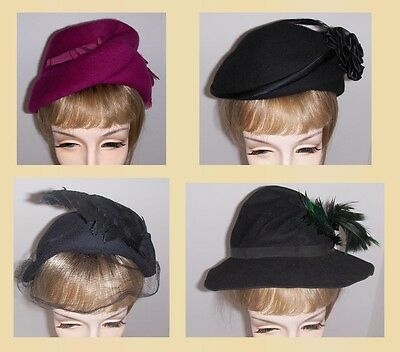 Lot of 4 ViNTAGE 1940's HATS Wool FELT with FEATHERS