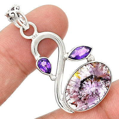 Cacoxenite Super Seven & Amethyst 925 Sterling Silver Pendant Jewelry PP48868