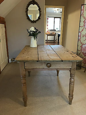 Antique Farmhouse Pine Kitchen Dining Table With Drawer Old Country Rustic