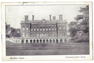 SHOBDON COURT Herefordshire, Old Postcard Postally Used 1911, Leominster Series
