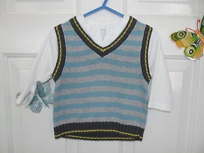 Baby Boy Blue, Grey, White Vest/body Warmer With Sewn In Top In Size 3-6 Months