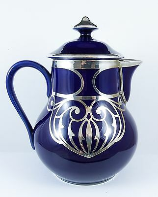 Sterling Silver Overlay Cobalt Blue Limoges Art Nouveau Hot Chocolate Pot 1910