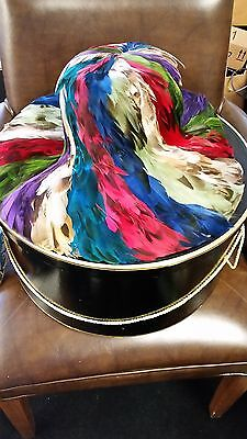 Jack McConnell New York Red Feather Multi Colored Feather Hat with Hat Box