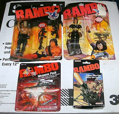 Vintage Rambo Force of Freedom Rambo & K.A.T. Action Figures & Weapons Lot New!