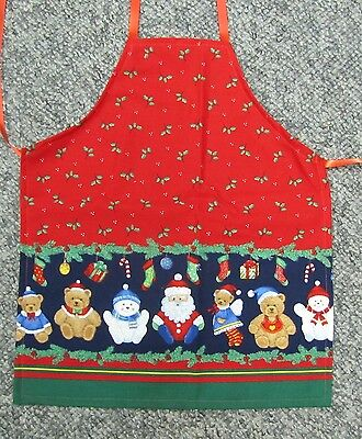 New cute child child's toddler apron Christmas Santa Claus red toys