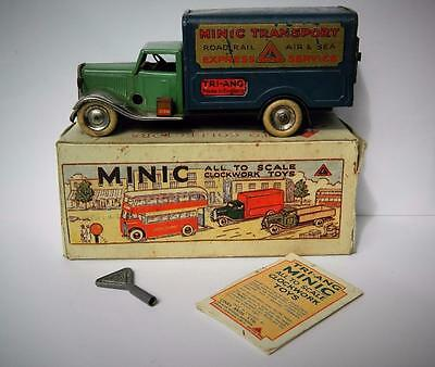 Triang Minic Tinplate Clockwork 1937 Rare Boxed 21M  Delivery Van With Key