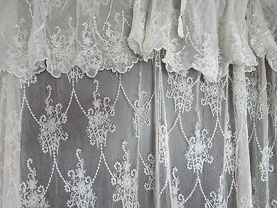 An Antique French Tambour Lace Embroidered Tulle Curtain