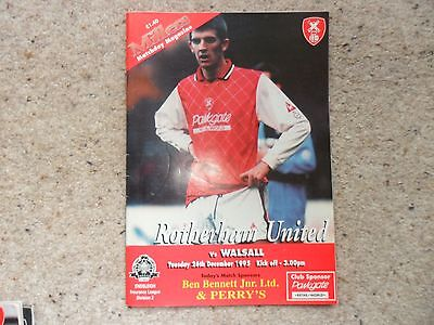 Rotherham United v Walsall 1995-1996 Dec. 26th Division 2