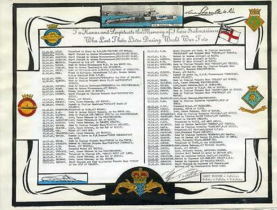 World War Ii Submariners Roll Of Honour - A Significant Display Piece Ref: Sub40