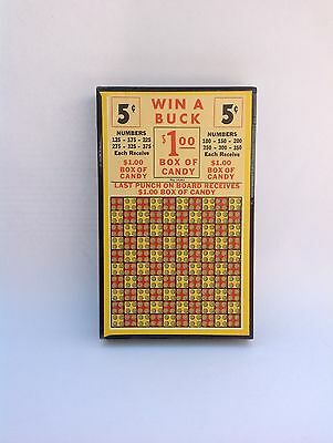 """VINTAGE 1930's PUNCH BOARD """"WIN A BUCK""""  ( NEW OLD STOCK FROM 1930) MINT COND."""