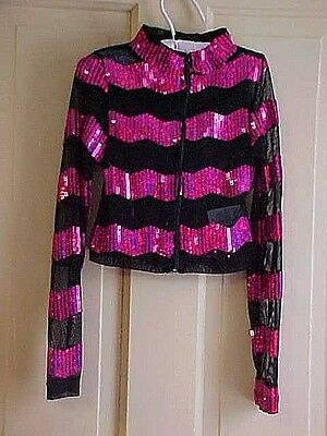 Girls SMALL  Dance TOP Bright PINK sequins stripes black see through fabric