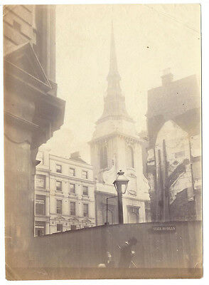 LONDON View of St Martin's Church, Ludgate - Antique Albumen Photograph c1880