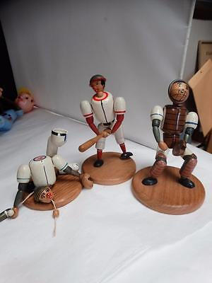 3 Vintage 1950s Wooden String Puppet Baseball Players German Western Zone Toys