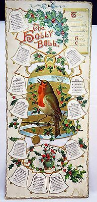 """Rare 1912 The Holly Bell Germany """"g"""" With Robin Calendar - Large And Unique"""