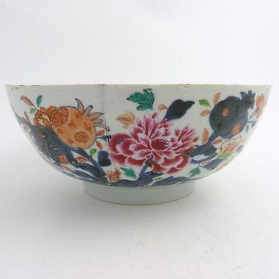 Chinese Imari Porcelain Punch Bowl, Pomegranate Pattern, 18Th Century