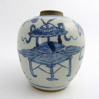 18Th Century Chinese Blue And White Porcelain Tea Jar, Kangxiperiod