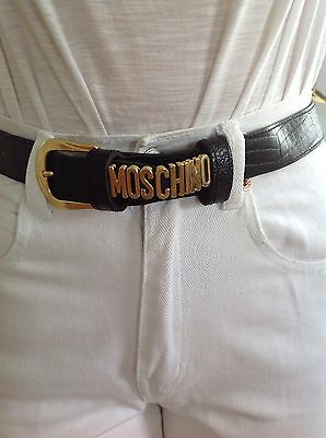 WOMENS VINTAGE MOSCHINO Black Faux Leather Belt Size Small S