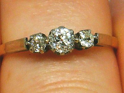 18ct Gold 18k Gold Art Deco 0.30ct Diamond trilogy ring size K