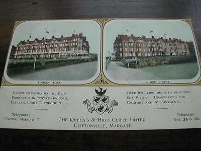 Postcard~ Advertising Queen's & High Cliffe Hotel,cliftonville ~Posted ~1908