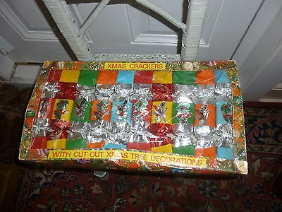 A Box of 10 Vintage Christmas Crackers-Made in England-Double Contents-c1960s.