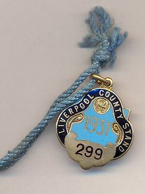 Liverpool County Stand 1931 horse racing vintage enamel Pass medalion
