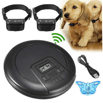 2in1 Waterproof Wireless Training Collar Indoor Pet Dog Electric Fencing Barrier