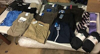 Large Lot Of Men's Clothes All New W Tags Pants Shorts Shirts Ties And More
