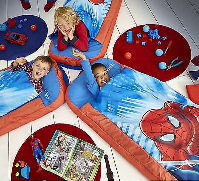 NEW WorldsApart Junior Readybed Kids Airbed & Sleeping Bag All in One - Spiderma