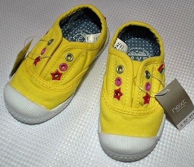 New & Tagged NEXT Sunshine Yellow Baby Shoes Trainers Slip-on Size 4