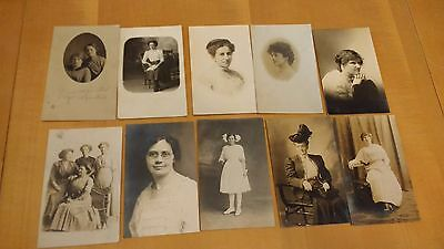 Lot of 33 Real Photo Post Cards of Women - Young Women Older Women and Groups