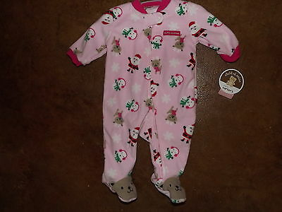 NWT Infant baby girl 0-3 m carter's my first Christmas pink zip up sleep outfit