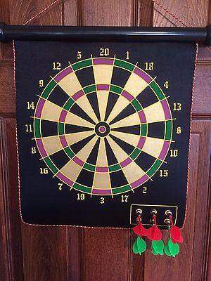 2 Sided Roll Up Dart Board .With 6 Magnetic Darts.New.