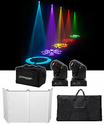 (2) American DJ ADJ Inno Pocket Spot LED Moving Head DMX Lights+Carry Bag+Facade