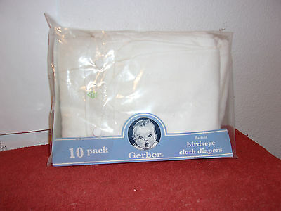 BRAND NEW 10 PACK of GERBER FLAT FOLD WHITE COTTON CLOTH DIAPERS
