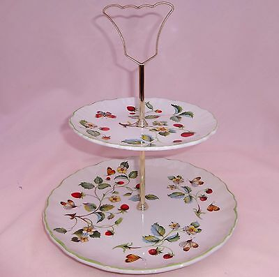 Vintage James Kent Old Foley Strawberry Two Tier Cake Stand