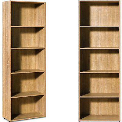 Oak Bookcase shelf tall wood effect shelves bookshelf 192cm shelving unit IV