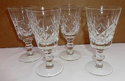 Vintage Cut Glass Sherry / Port / Small Wine Glasses x 4