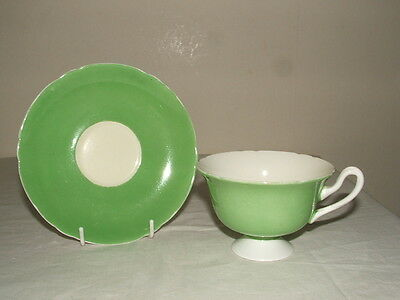 Shelley Art Deco Lincoln Shaped Green & White  Cup & Saucer Truly Stunning