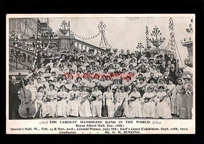 London Crystal Palace Largest Mandoline Band In The World Postcard 1903 - Se110